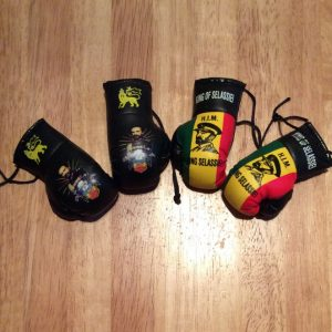 Mini hanging Haile Selassie boxing gloves
