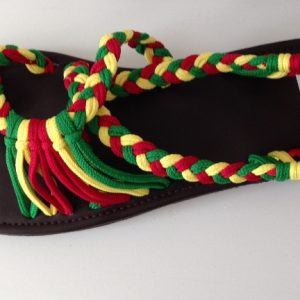 Rasta Red Gold and Green plaited sandals/shoes