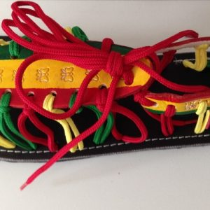 Laced Rasta red gold and green sandal / shoe