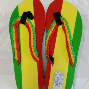 Rasta red gold and green flip flops / thongs