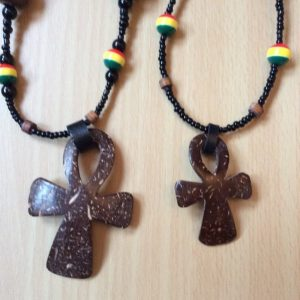 Hand Carved Coconut Shell Ankh necklace