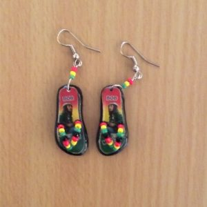 Bob Marley/ Guitar flip flop earrings