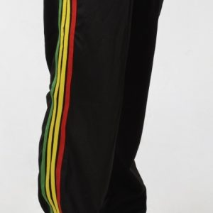 Black rasta stripe tracksuit bottoms