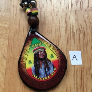Bob Marley teardrop wood necklaces